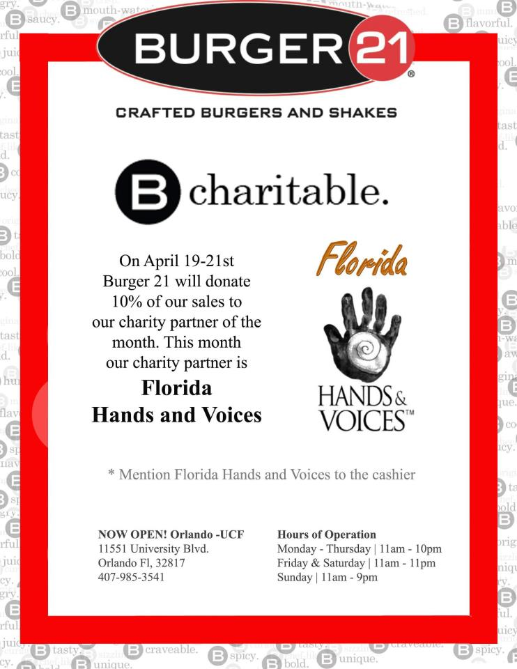 FLORIDA HANDS AND VOICES - BURGER21 FUNDRAISER | NOTHINGBUTCOUNTRY.COM