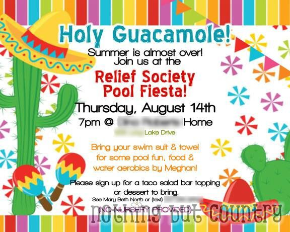 Holy Guacamole! Pool Party Fiesta | Relief Society Night | NothingButCountry.com