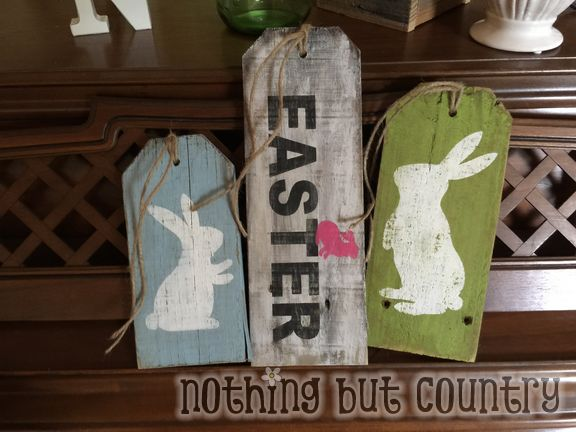 Easter decorations made from old fence boards
