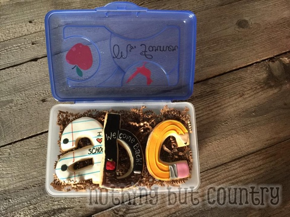 Back To School Teacher Gifts - Cookies in a pencil box