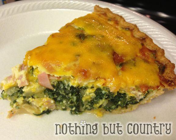 Spinach Ham & Cheese Quiche